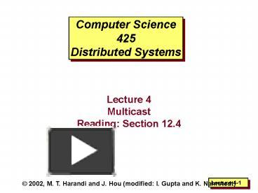 PPT – Computer Science 425 Distributed Systems PowerPoint