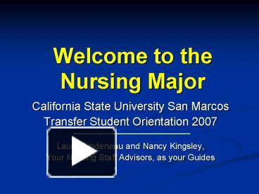Ppt Welcome To The Nursing Major Powerpoint Presentation Free To