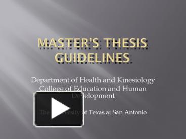 Master thesis standards