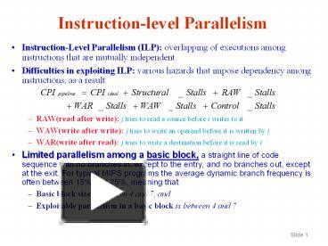 Ppt Instruction Level Parallelism Powerpoint Presentation Free To Download Id 1a43e0 Zdc1z