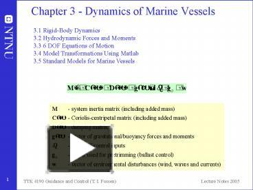 PPT – Chapter 3 Dynamics of Marine Vessels PowerPoint presentation