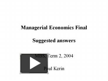 managerial econ final
