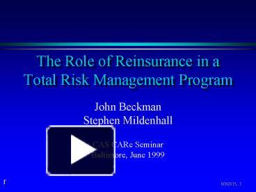 the role of reinsurance industry