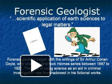 Ppt Forensic Geologist Powerpoint Presentation Free To Download Id 1b2b52 Zdc1z