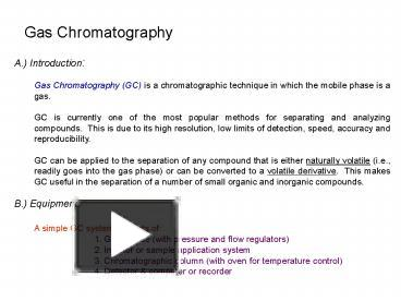 Ppt gas chromatography powerpoint presentation free to view id ppt gas chromatography powerpoint presentation free to view id 1b2c08 zdc1z ccuart Image collections