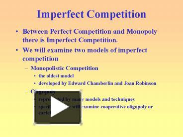 perfect and imperfect competition