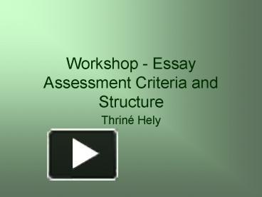 audio essay assessment criteria