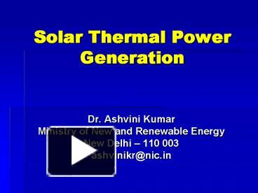 Ppt Solar Thermal Power Generation Powerpoint