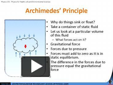 PPT – Archimedes Principle PowerPoint presentation | free ...