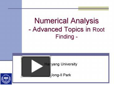 numerical analysis and non trivial root