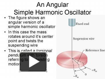 PPT – An Angular Simple Harmonic Oscillator PowerPoint