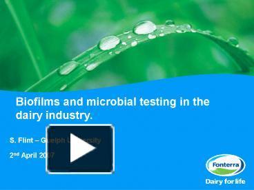 Bloggat om Biofilms in the Dairy Industry