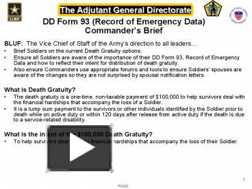 PPT – DD Form 93 Record of Emergency Data Commanders Brief