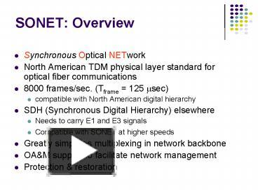 PPT – SONET: Overview PowerPoint presentation | free to view - id