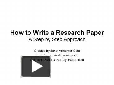 step by step on how to write a research paper