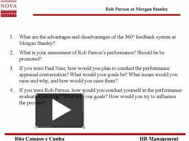 rob parson at morgan stanley case analysis