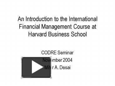 PPT – An Introduction to the International Financial