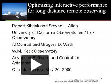 PPT – Optimizing interactive performance for longdistance remote