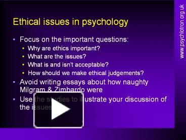 essays on ethics in psychological research Objectives on reading this chapter you should: • be aware of the major functions of ethics codes, and why they play such a crucial role in psychological research.