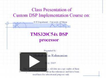 PPT – TMS320C54x DSP processor PowerPoint presentation