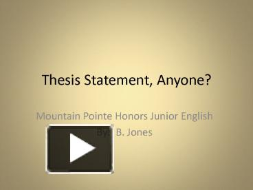 junior honors thesis statement