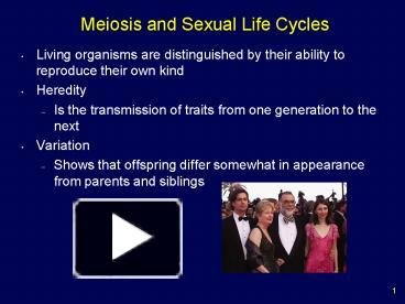 Meiosis and sexual life cycles powerpoint