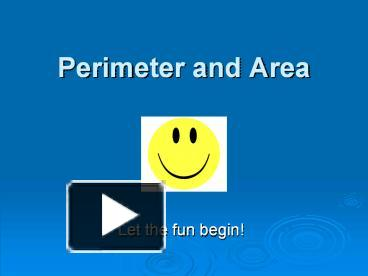 PPT – Perimeter and Area PowerPoint presentation | free to ...