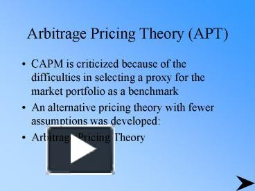 advantages and disadvantages of arbitrage pricing theory