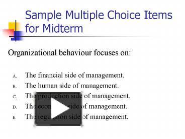 organizational behaviour multiple choice
