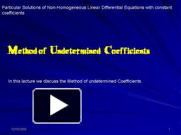 PPT – Particular Solutions of NonHomogeneous Linear