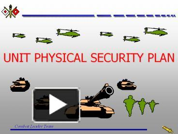 PPT – U S  ARMY PHYSICAL SECURITY PROGRAM PowerPoint