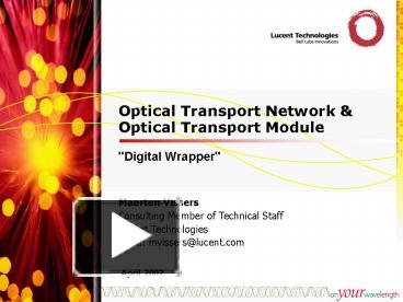 PPT – Optical Transport Network PowerPoint presentation   free to