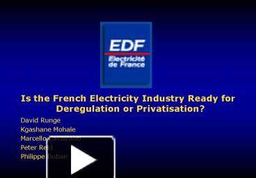 a discussion of the deregulation of the electrical industry Dear members and friends, the next meeting of the energy 2020 study commission which has a mandate of considering deregulation of the electrical industry in florida is scheduled in orlando.