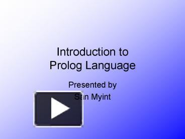 introductions to prolog