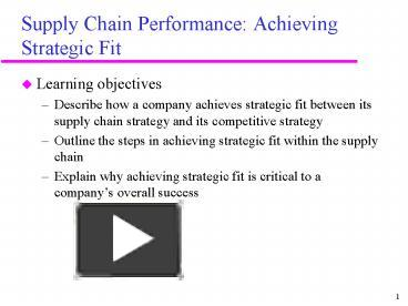 PPT – Supply Chain Performance: Achieving Strategic Fit