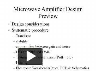 Ppt Microwave Amplifier Design