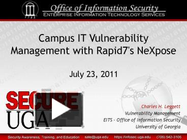 PPT – Campus IT Vulnerability Management with Rapid7's