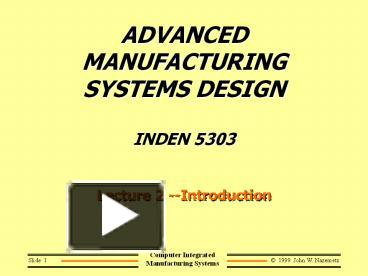 PPT – ADVANCED MANUFACTURING SYSTEMS DESIGN INDEN 5303