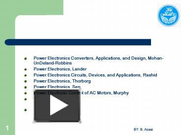PPT – Power Electronics Converters, Applications, and Design