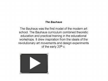ppt the bauhaus powerpoint presentation free to view id