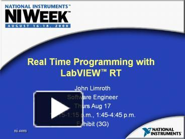PPT – Real Time Programming with LabVIEW RT PowerPoint