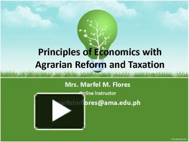 economics and taxation with agrarian reform
