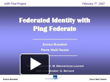 PPT – Federated Identity with Ping Federate PowerPoint