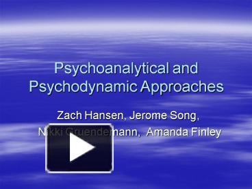 psychoanalytical approach to e a poe's Psychoanalytic approaches to literature - powerpoint ppt presentation the presentation will start after a short (15 second) video ad from one of our sponsors.