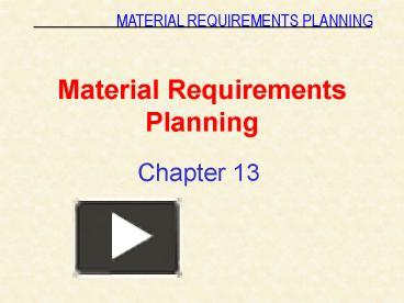 expansions of material requirements planning What's the job description of a materials planner you are responsible for planning and monitoring the materials and products used by your job requirements.