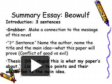 possible thesis statements for beowulf
