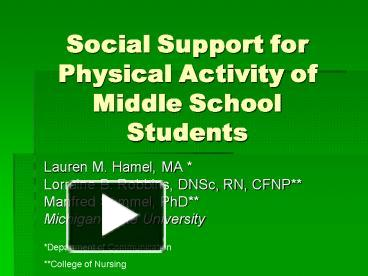 social support and physical activity corroborating