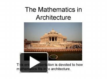 ppt the mathematics in architecture powerpoint presentation free