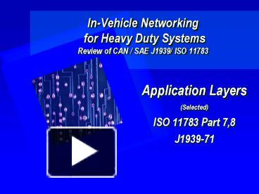 PPT – InVehicle Networking for Heavy Duty Systems Review of CAN SAE