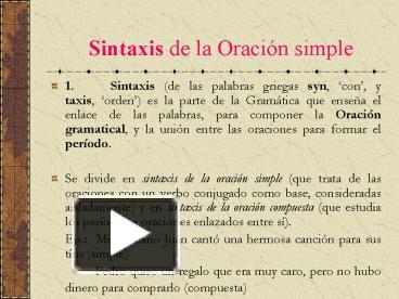 Sintaxis oraciones simples online dating